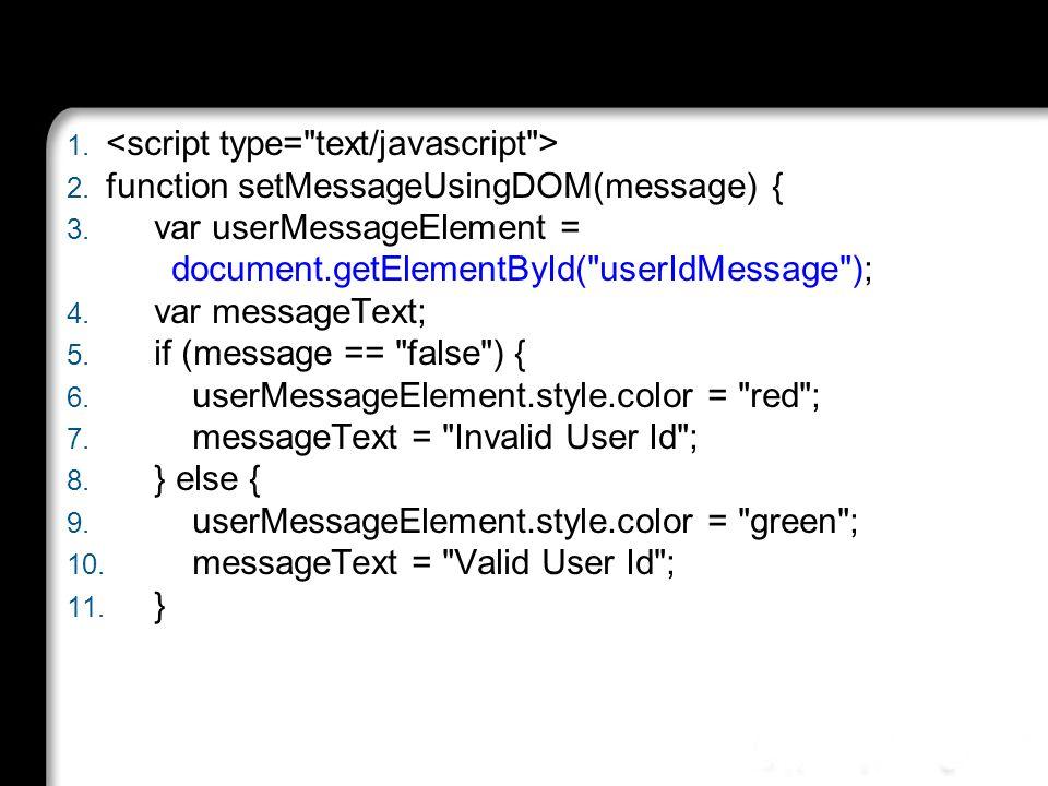 1. 2. function setMessageUsingDOM(message) { 3. var userMessageElement = document.getElementById(
