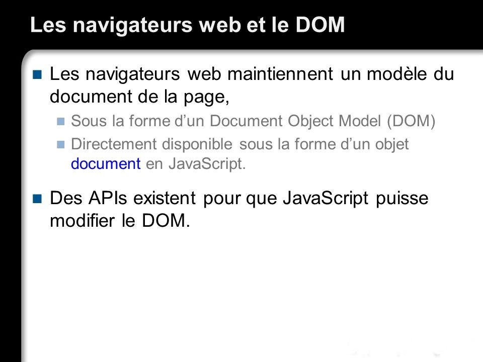 Les navigateurs web et le DOM Les navigateurs web maintiennent un modèle du document de la page, Sous la forme dun Document Object Model (DOM) Directe