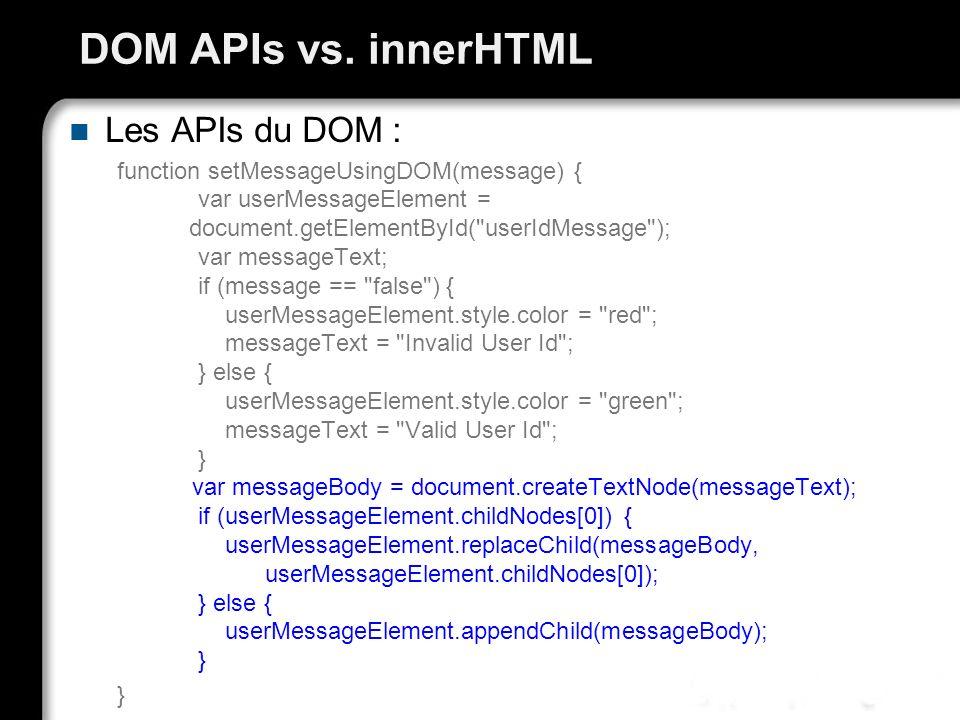 DOM APIs vs. innerHTML Les APIs du DOM : function setMessageUsingDOM(message) { var userMessageElement = document.getElementById(