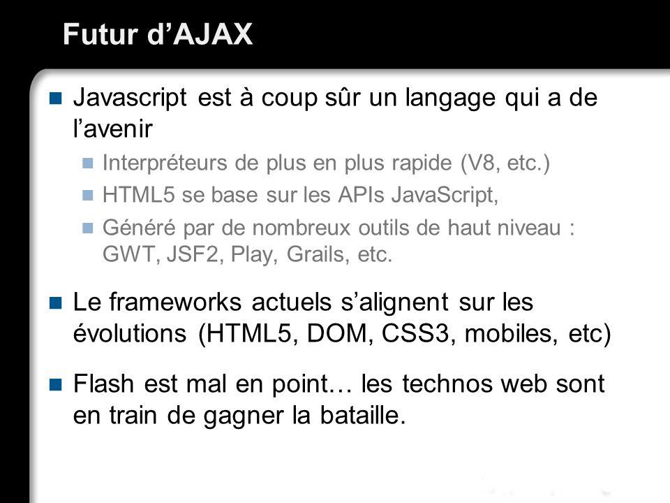 Futur dAJAX Javascript est à coup sûr un langage qui a de lavenir Interpréteurs de plus en plus rapide (V8, etc.) HTML5 se base sur les APIs JavaScrip
