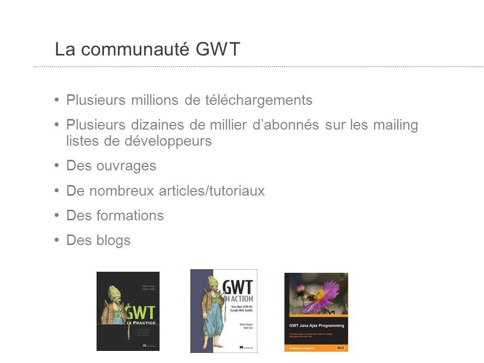 La communauté GWT Plusieurs millions de téléchargements Plusieurs dizaines de millier dabonnés sur les mailing listes de développeurs Des ouvrages De nombreux articles/tutoriaux Des formations Des blogs