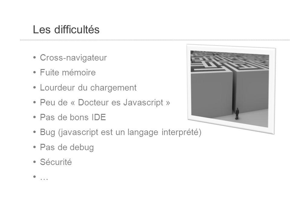 Les difficultés Cross-navigateur Fuite mémoire Lourdeur du chargement Peu de « Docteur es Javascript » Pas de bons IDE Bug (javascript est un langage interprété) Pas de debug Sécurité …