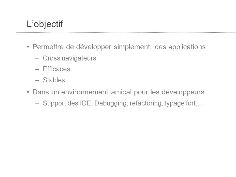 Lobjectif Permettre de développer simplement, des applications – Cross navigateurs – Efficaces – Stables Dans un environnement amical pour les développeurs – Support des IDE, Debugging, refactoring, typage fort,…