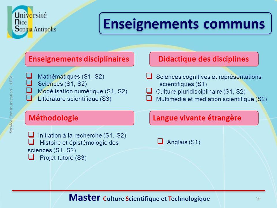 10 Service Communication - IUFM Mathématiques (S1, S2) Sciences (S1, S2) Modélisation numérique (S1, S2) Littérature scientifique (S3) Enseignements c