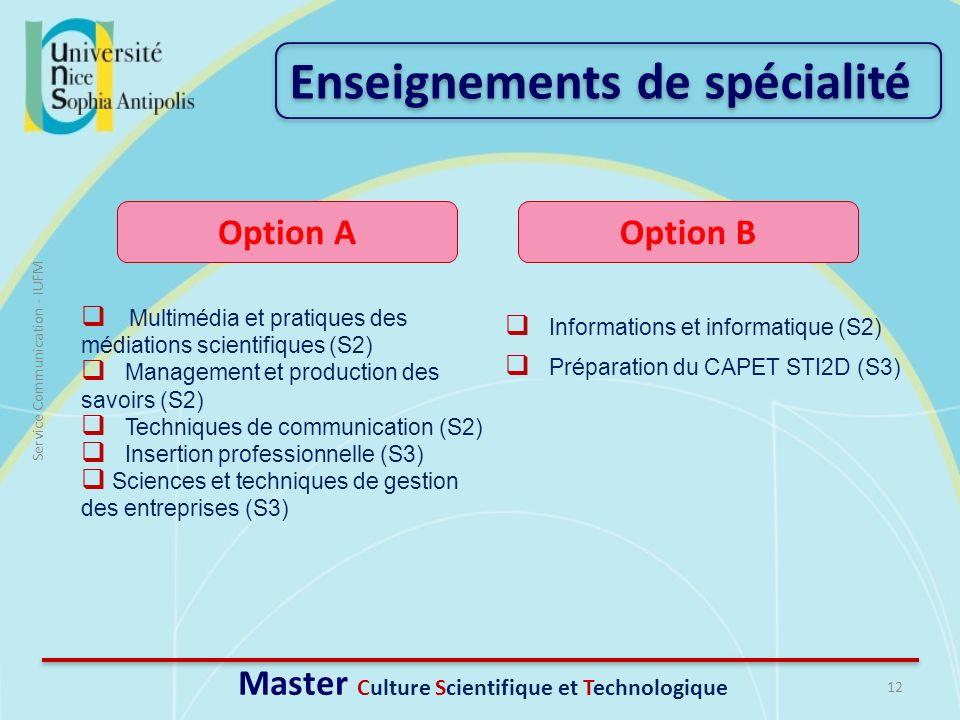 12 Service Communication - IUFM Multimédia et pratiques des médiations scientifiques (S2) Management et production des savoirs (S2) Techniques de comm