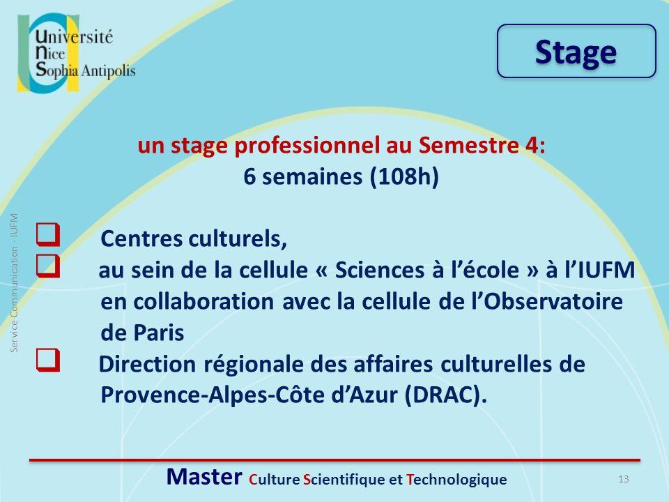 un stage professionnel au Semestre 4: 6 semaines (108h) Centres culturels, au sein de la cellule « Sciences à lécole » à lIUFM en collaboration avec l