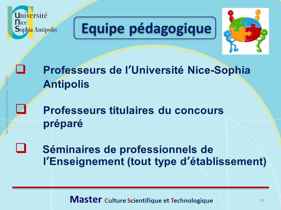 18 Service Communication - IUFM Professeurs de lUniversité Nice-Sophia Antipolis Professeurs titulaires du concours préparé Séminaires de professionne