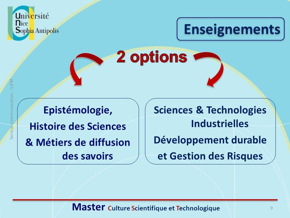 9 Service Communication - IUFM Enseignements Master Culture Scientifique et Technologique Epistémologie, Histoire des Sciences & Métiers de diffusion