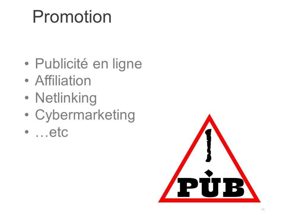 Promotion 14 Publicité en ligne Affiliation Netlinking Cybermarketing …etc