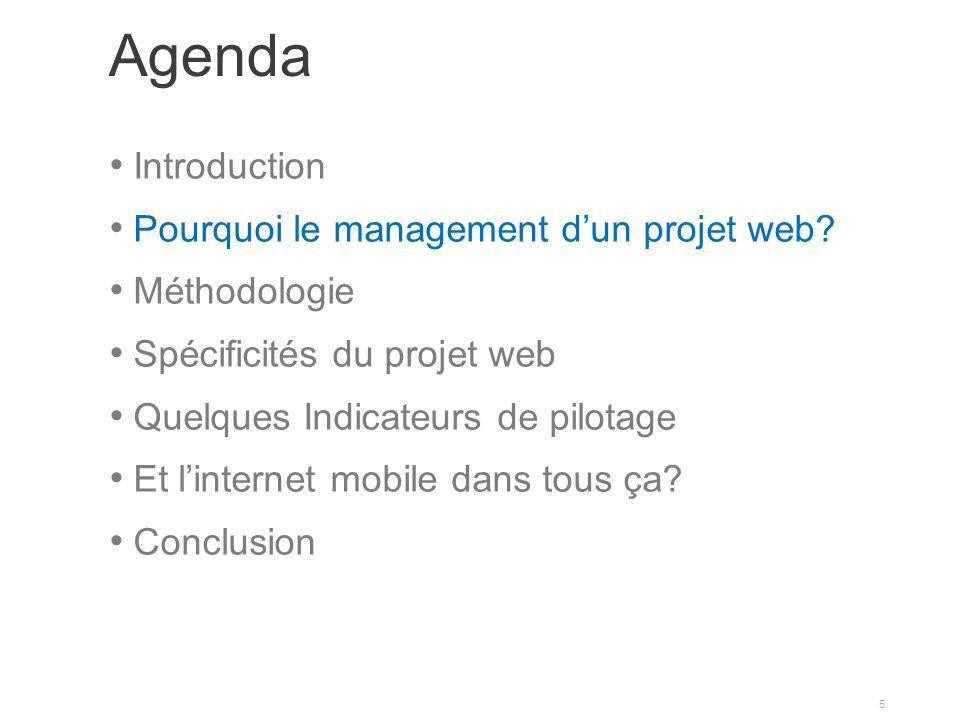 Agenda Introduction Pourquoi le management dun projet web.