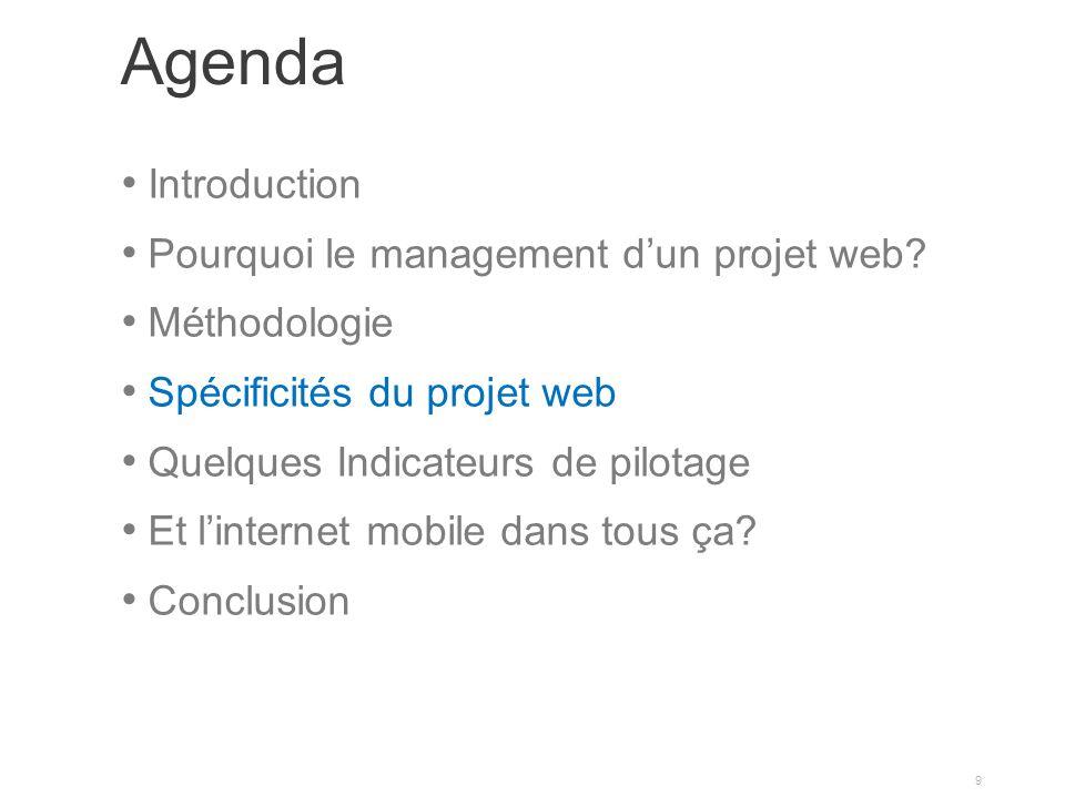 Agenda Introduction Pourquoi le management dun projet web? Méthodologie Spécificités du projet web Quelques Indicateurs de pilotage Et linternet mobil