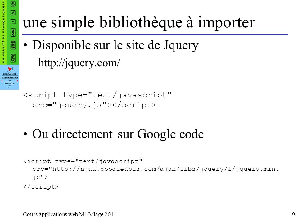 Intercepter le bouton submit dun formulaire : $(document).ready(function() { $(#ok).submit(function() { if ($(#login).val() ==) { alert (Entrer un login); return false; } }) }); jQuery example dutilisation 4