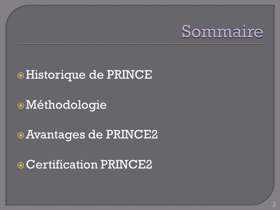 Historique de PRINCE Méthodologie Avantages de PRINCE2 Certification PRINCE2 2