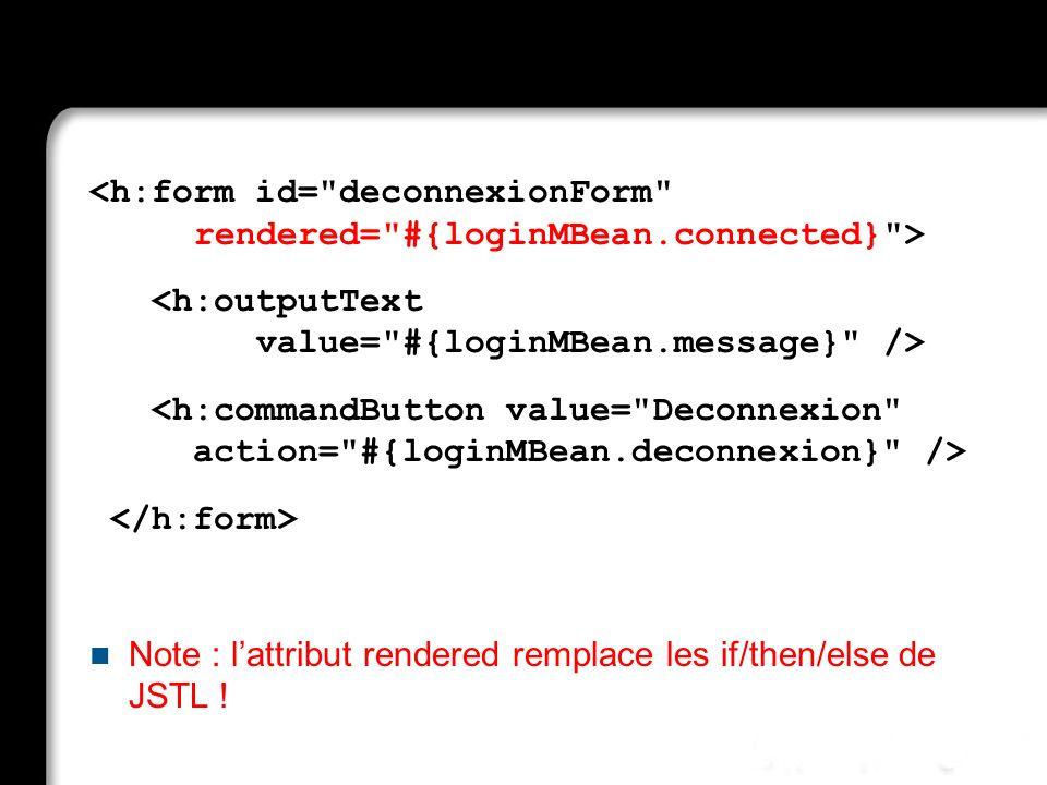 Note : lattribut rendered remplace les if/then/else de JSTL !
