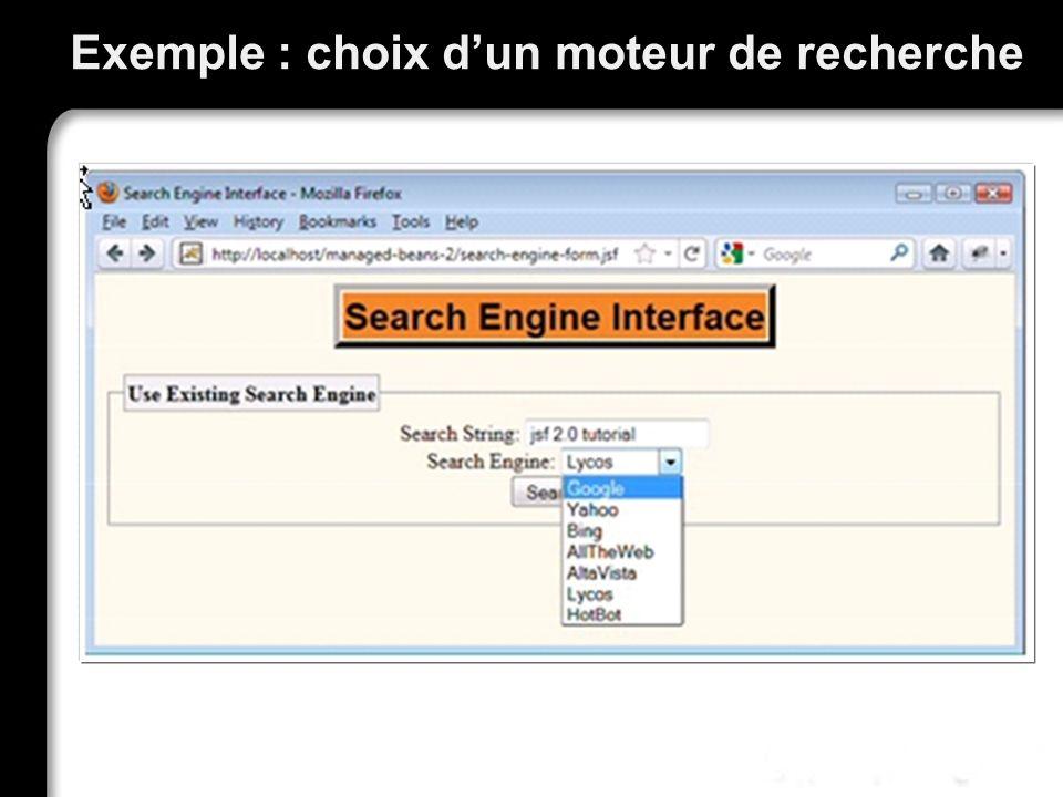 Exemple : choix dun moteur de recherche