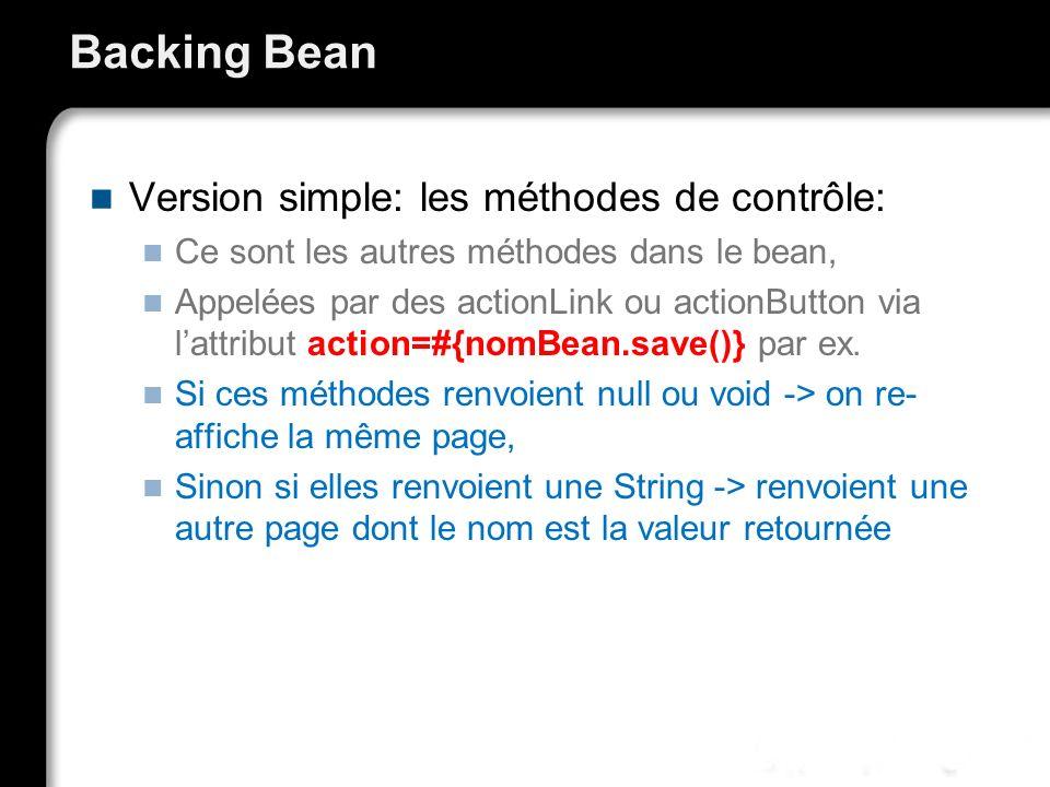 Backing Bean Version simple: les méthodes de contrôle: Ce sont les autres méthodes dans le bean, Appelées par des actionLink ou actionButton via lattr