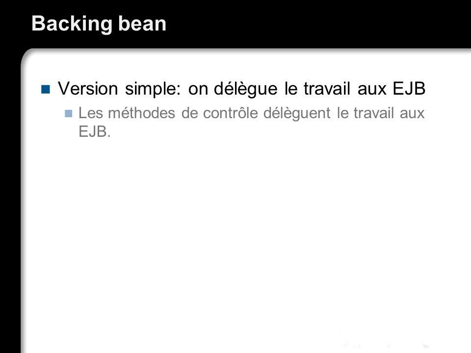 Backing bean Version simple: on délègue le travail aux EJB Les méthodes de contrôle délèguent le travail aux EJB.