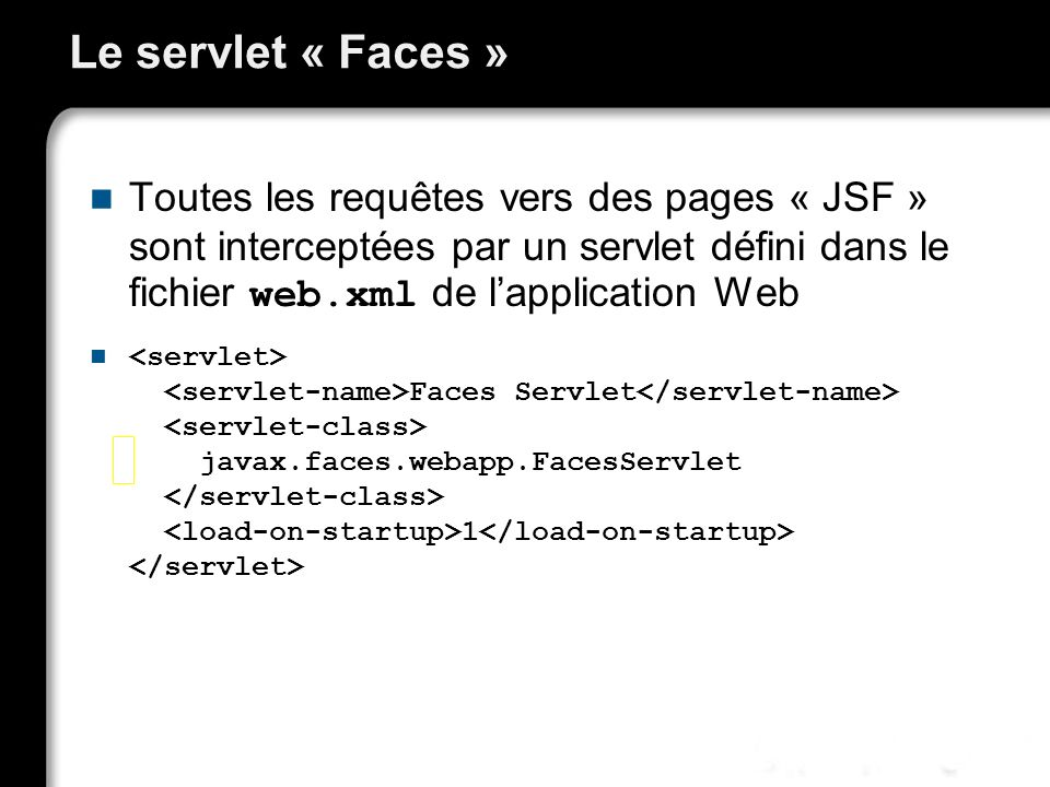 21/10/99Richard GrinJSF - page 27 Le servlet « Faces » Toutes les requêtes vers des pages « JSF » sont interceptées par un servlet défini dans le fich