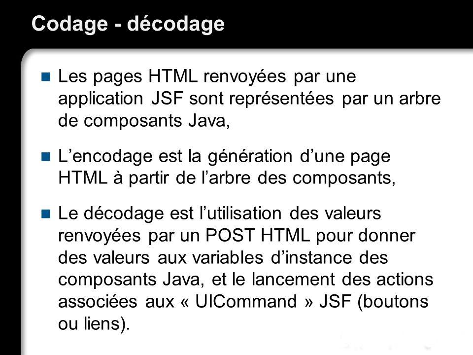 21/10/99Richard GrinJSF - page 29 Codage - décodage Les pages HTML renvoyées par une application JSF sont représentées par un arbre de composants Java