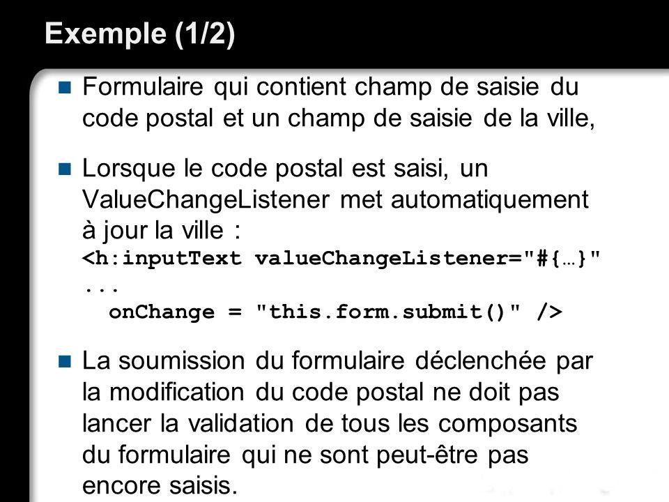 Exemple (1/2) Formulaire qui contient champ de saisie du code postal et un champ de saisie de la ville, Lorsque le code postal est saisi, un ValueChan
