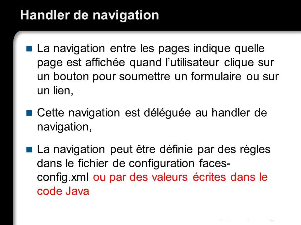 21/10/99Richard GrinJSF - page 56 Handler de navigation La navigation entre les pages indique quelle page est affichée quand lutilisateur clique sur u