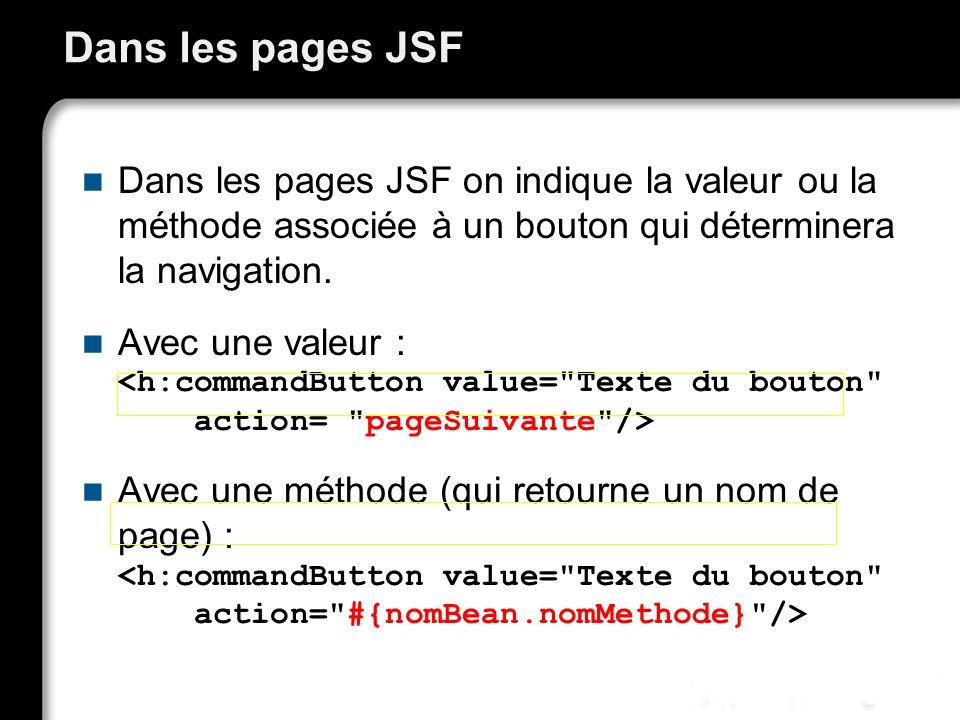 21/10/99Richard GrinJSF - page 58 Dans les pages JSF Dans les pages JSF on indique la valeur ou la méthode associée à un bouton qui déterminera la nav