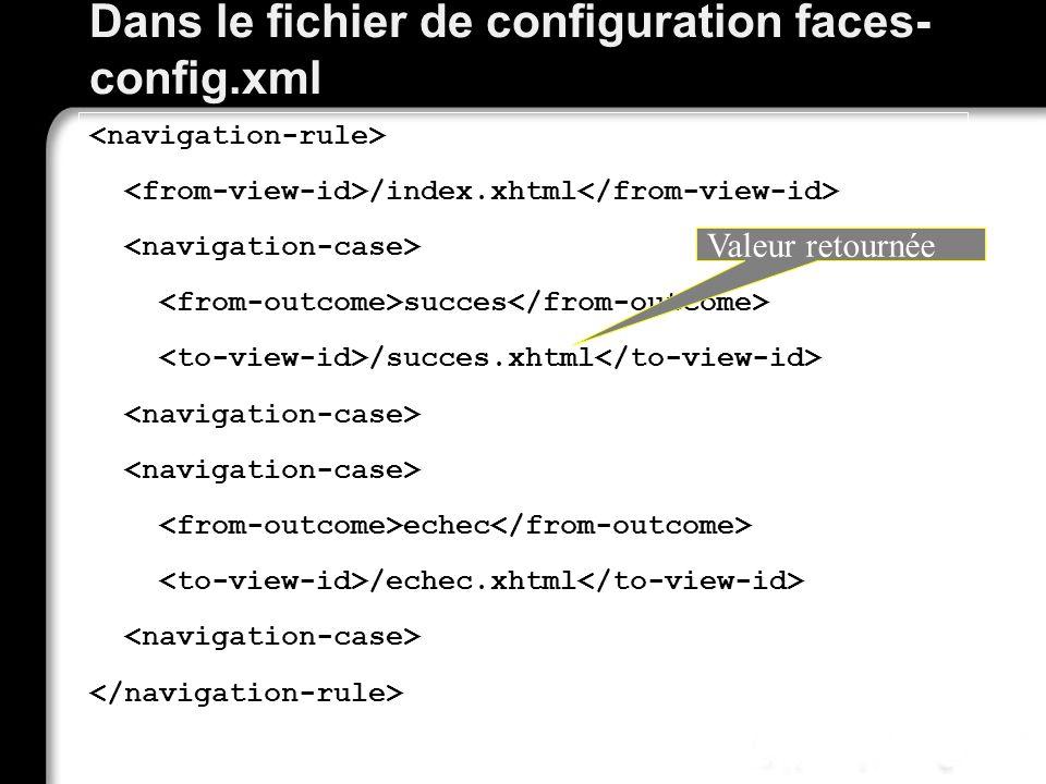 21/10/99Richard GrinJSF - page 59 Dans le fichier de configuration faces- config.xml /index.xhtml succes /succes.xhtml echec /echec.xhtml Valeur retou