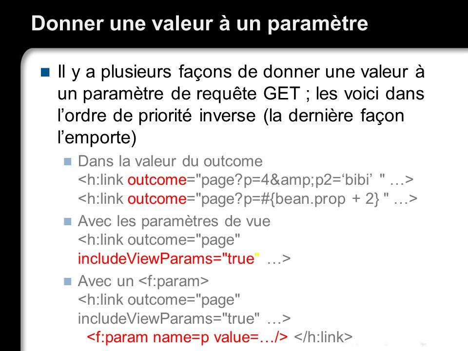 Donner une valeur à un paramètre Il y a plusieurs façons de donner une valeur à un paramètre de requête GET ; les voici dans lordre de priorité invers