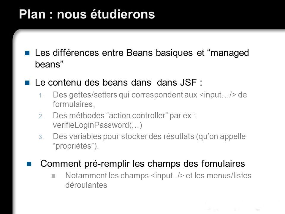 Plan : nous étudierons Les différences entre Beans basiques et managed beans Le contenu des beans dans dans JSF : 1. Des gettes/setters qui correspond