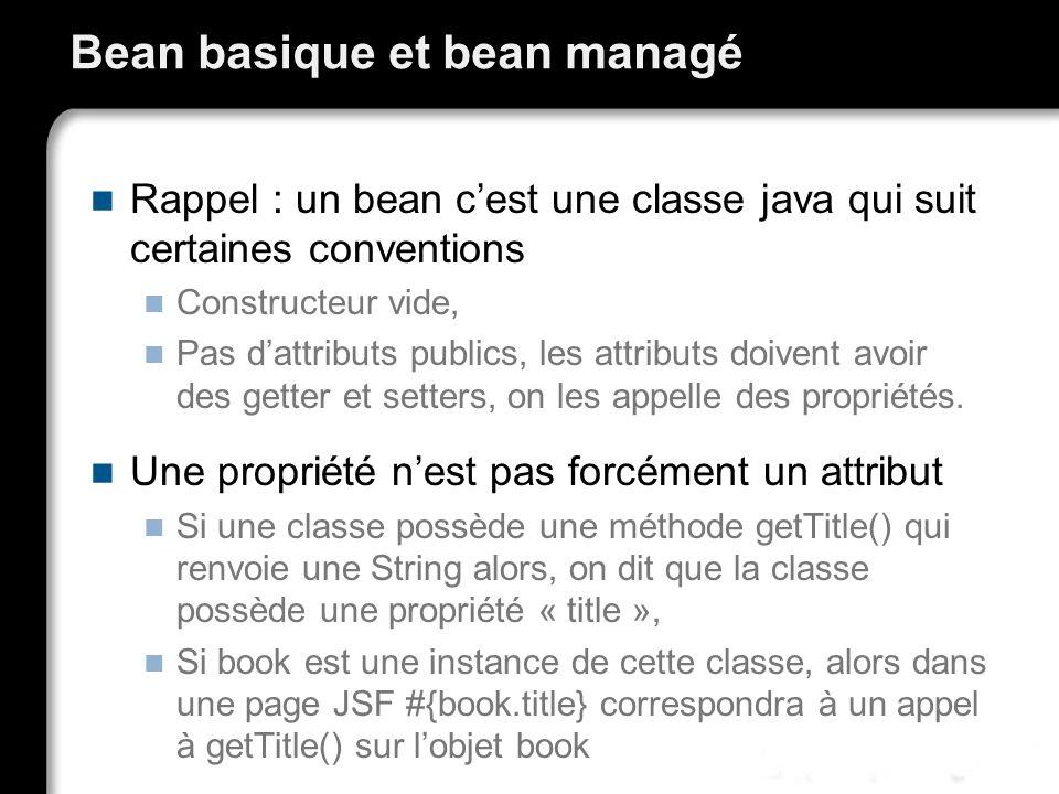 Bean basique et bean managé Rappel : un bean cest une classe java qui suit certaines conventions Constructeur vide, Pas dattributs publics, les attrib