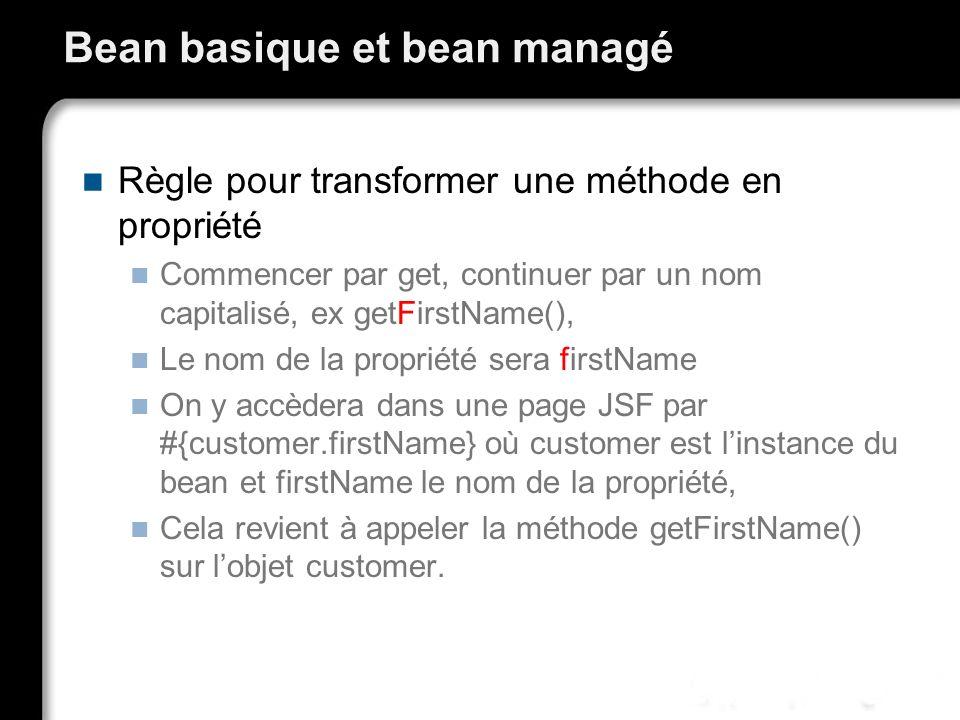 Bean basique et bean managé Règle pour transformer une méthode en propriété Commencer par get, continuer par un nom capitalisé, ex getFirstName(), Le