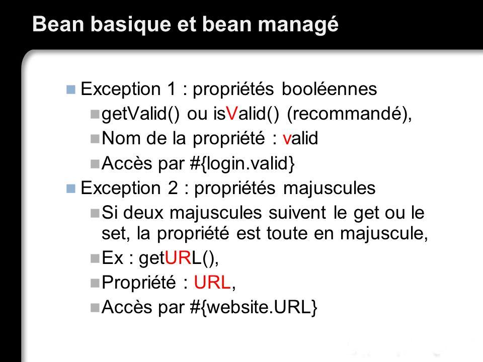 Bean basique et bean managé Exception 1 : propriétés booléennes getValid() ou isValid() (recommandé), Nom de la propriété : valid Accès par #{login.va