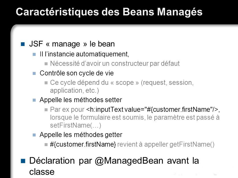 Caractéristiques des Beans Managés JSF « manage » le bean Il linstancie automatiquement, Nécessité davoir un constructeur par défaut Contrôle son cycl