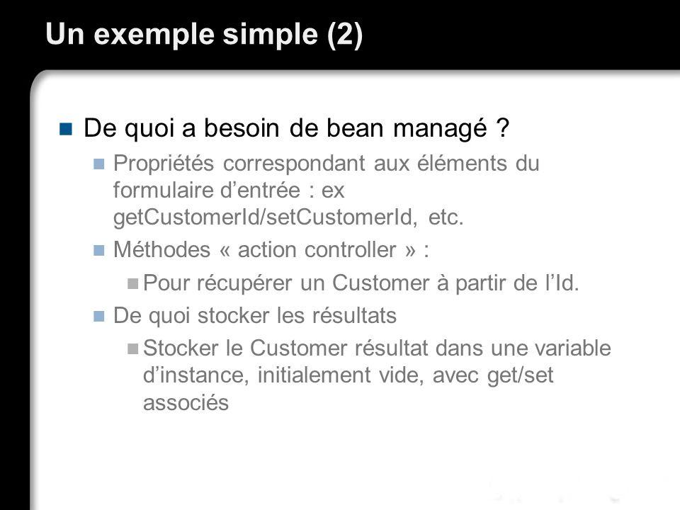 Un exemple simple (2) De quoi a besoin de bean managé ? Propriétés correspondant aux éléments du formulaire dentrée : ex getCustomerId/setCustomerId,