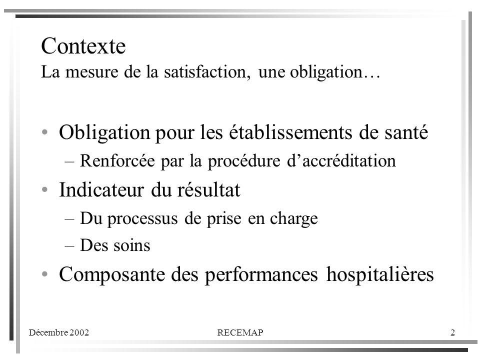 Décembre 2002RECEMAP2 Contexte La mesure de la satisfaction, une obligation… Obligation pour les établissements de santé –Renforcée par la procédure daccréditation Indicateur du résultat –Du processus de prise en charge –Des soins Composante des performances hospitalières