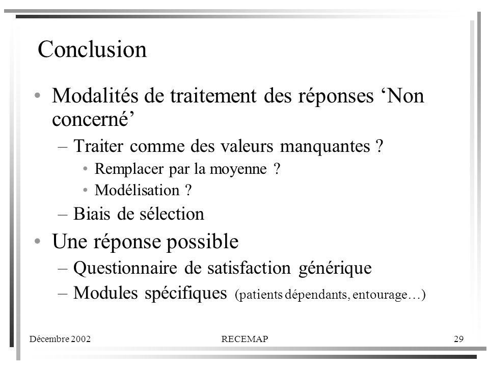 Décembre 2002RECEMAP29 Conclusion Modalités de traitement des réponses Non concerné –Traiter comme des valeurs manquantes .