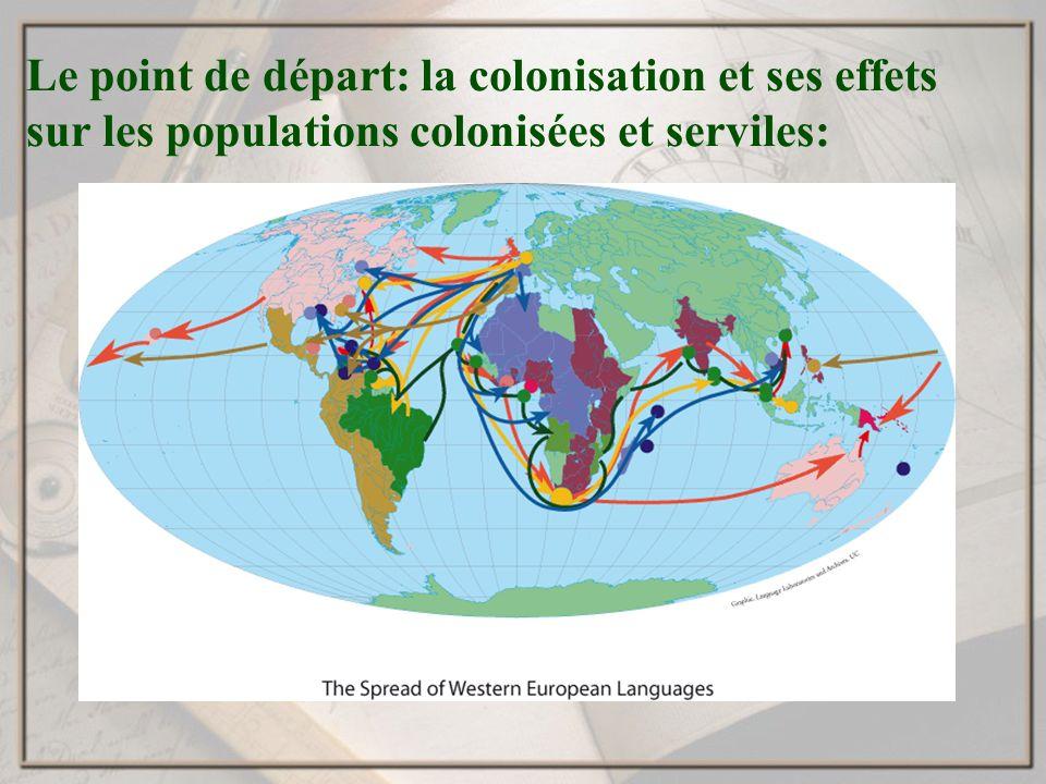Le point de départ: la colonisation et ses effets sur les populations colonisées et serviles: