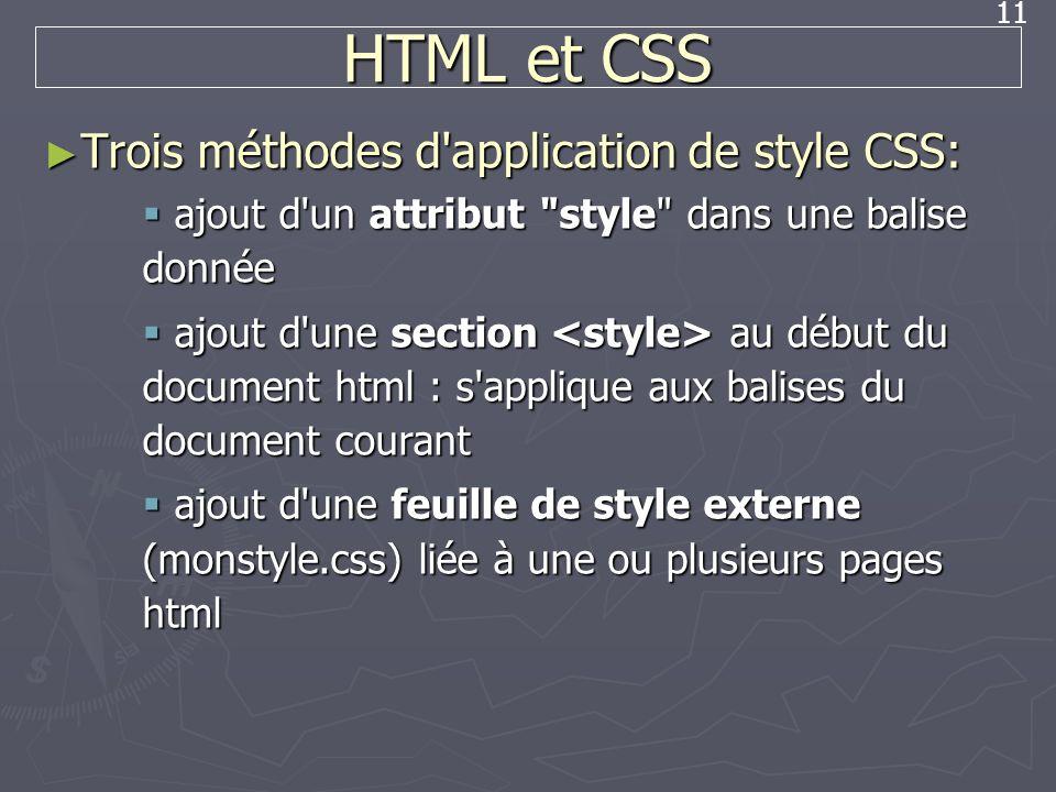 11 HTML et CSS Trois méthodes d'application de style CSS: Trois méthodes d'application de style CSS: ajout d'un attribut