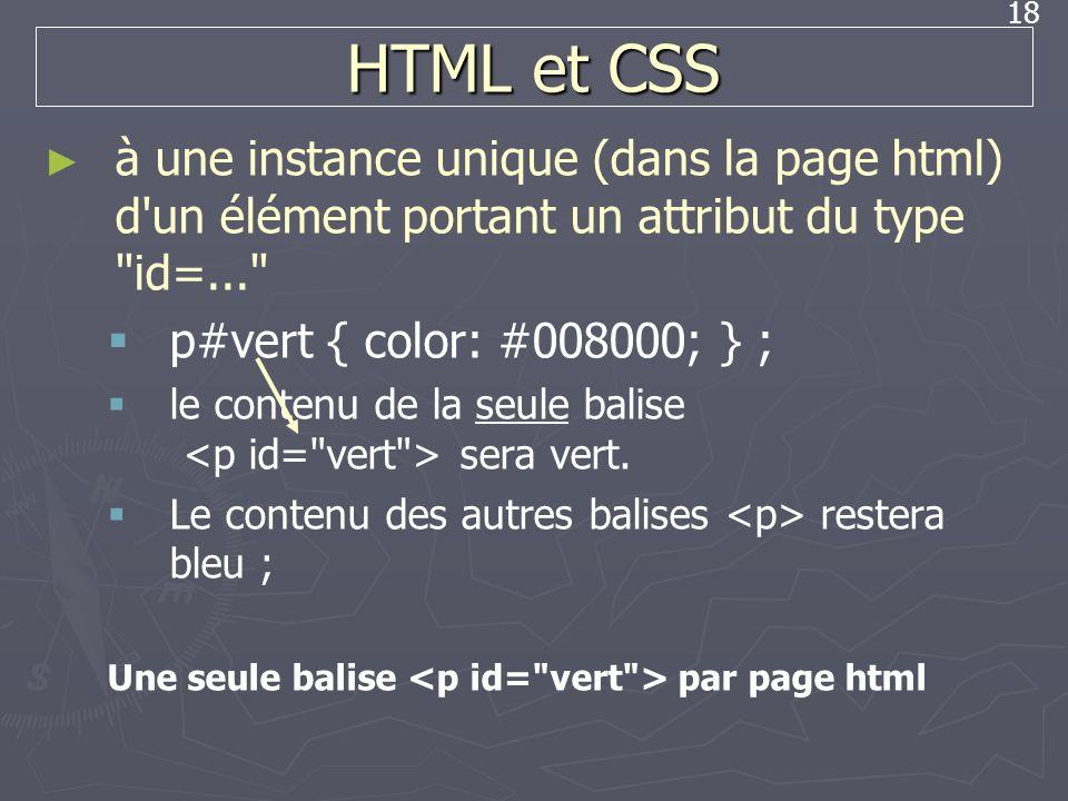 18 HTML et CSS à une instance unique (dans la page html) d'un élément portant un attribut du type