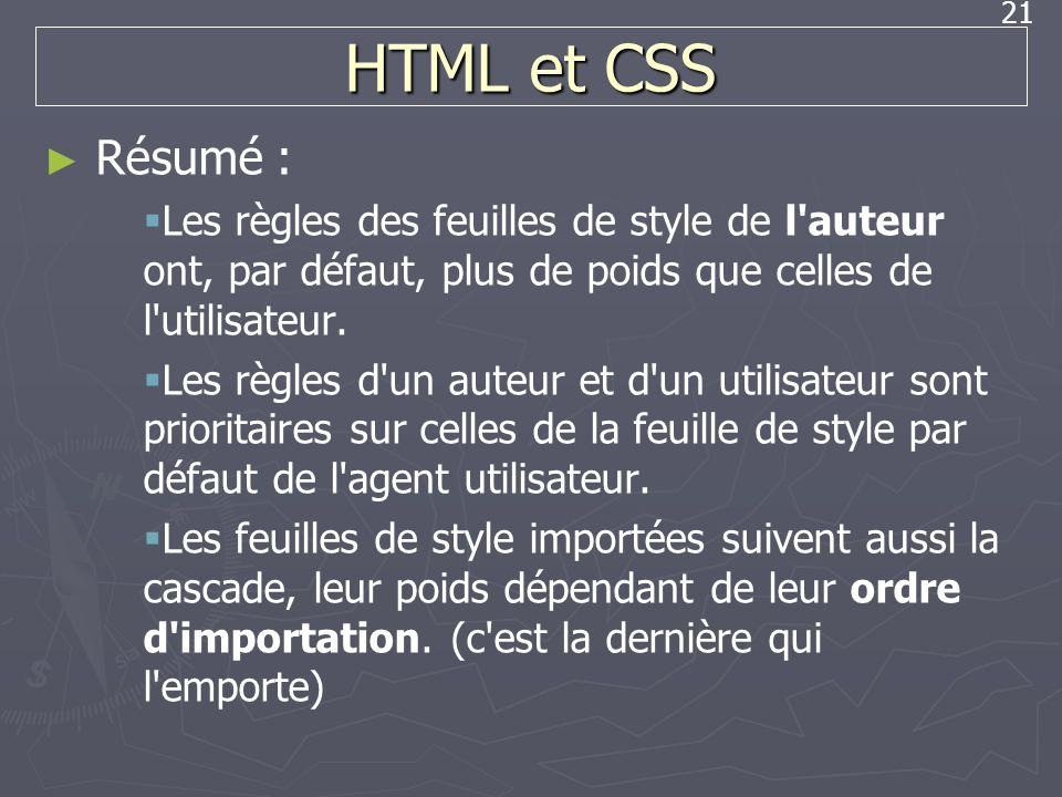 21 HTML et CSS Résumé : Les règles des feuilles de style de l'auteur ont, par défaut, plus de poids que celles de l'utilisateur. Les règles d'un auteu