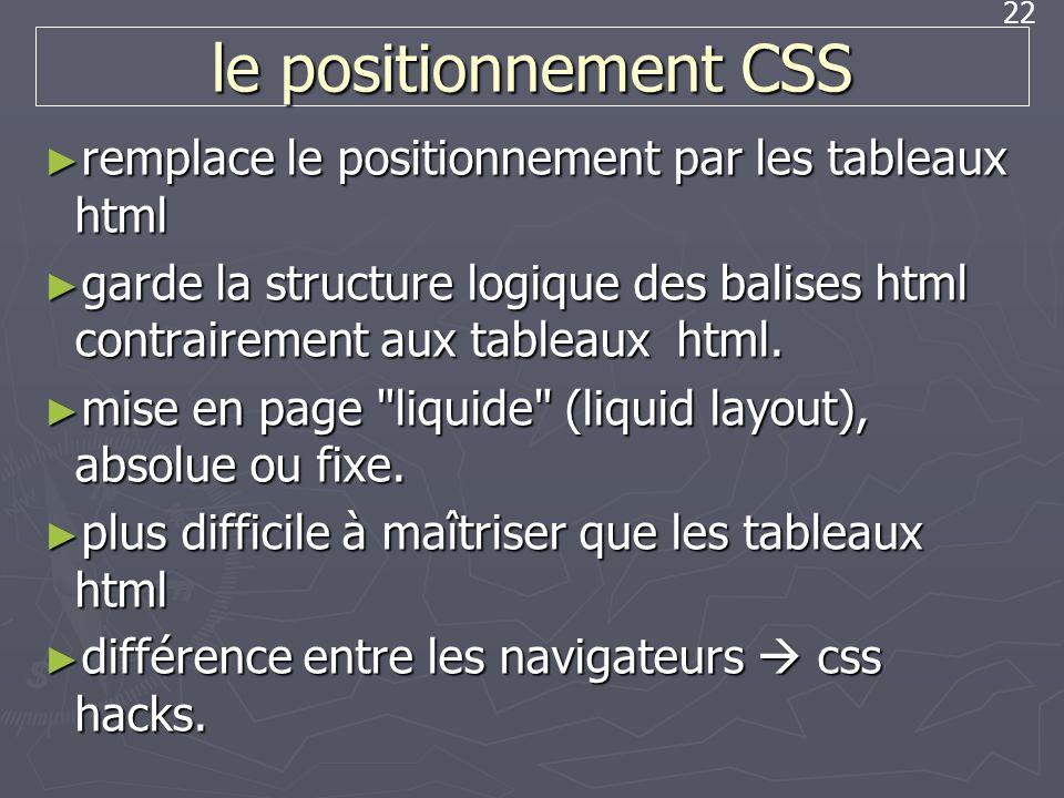 22 le positionnement CSS remplace le positionnement par les tableaux html remplace le positionnement par les tableaux html garde la structure logique