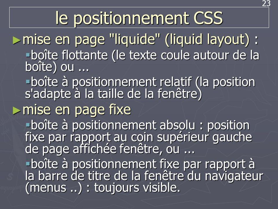 23 le positionnement CSS mise en page