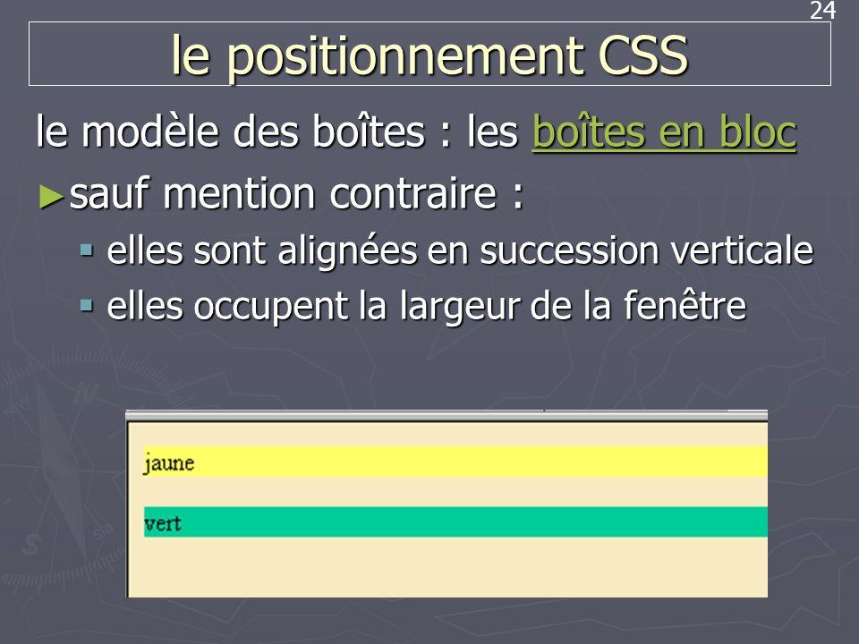 24 le positionnement CSS le modèle des boîtes : les boîtes en bloc boîtes en blocboîtes en bloc sauf mention contraire : sauf mention contraire : elle