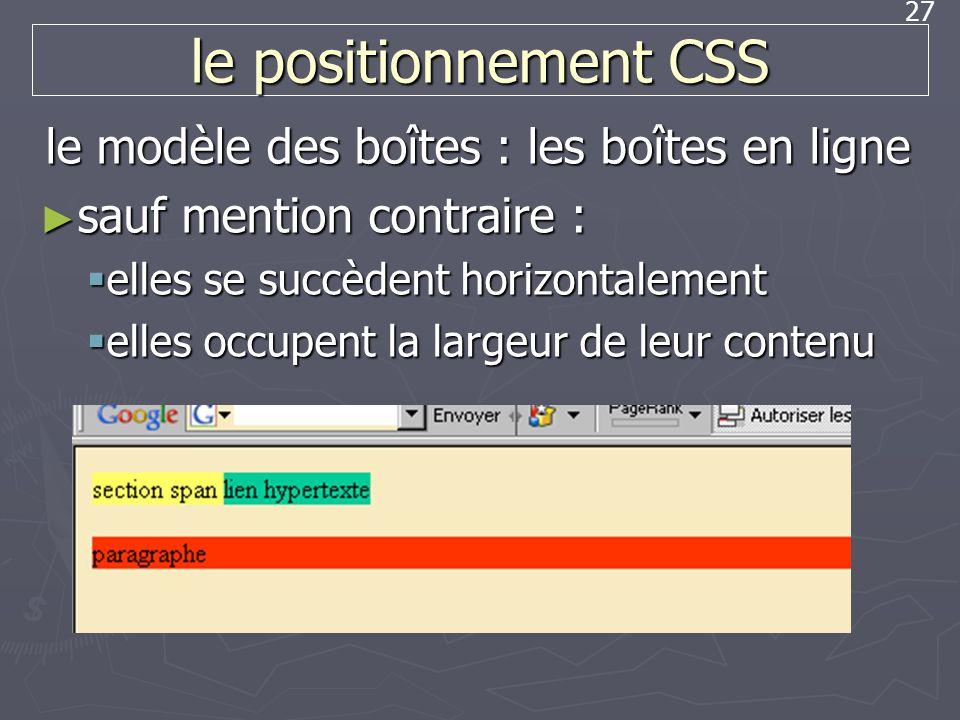 27 le positionnement CSS le modèle des boîtes : les boîtes en ligne sauf mention contraire : sauf mention contraire : elles se succèdent horizontaleme