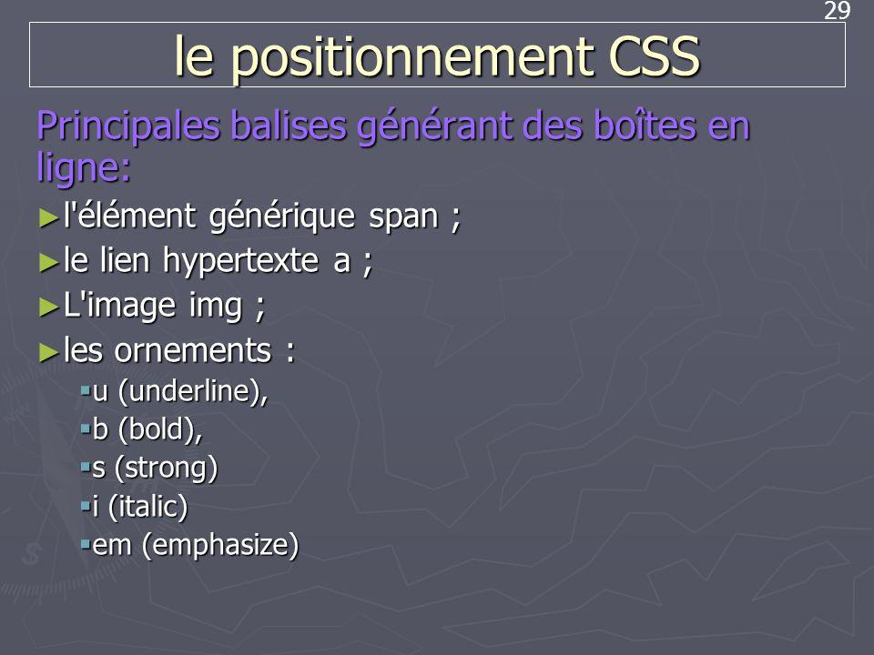 29 le positionnement CSS Principales balises générant des boîtes en ligne: l'élément générique span ; l'élément générique span ; le lien hypertexte a