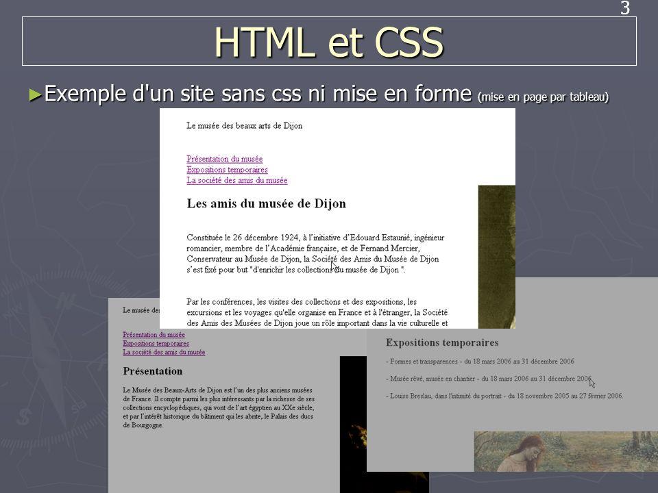 3 HTML et CSS Exemple d'un site sans css ni mise en forme (mise en page par tableau) Exemple d'un site sans css ni mise en forme (mise en page par tab