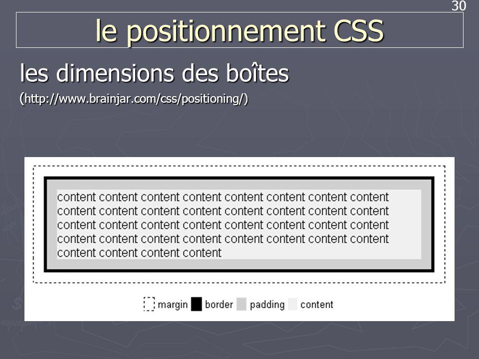 30 le positionnement CSS les dimensions des boîtes ( http://www.brainjar.com/css/positioning/)