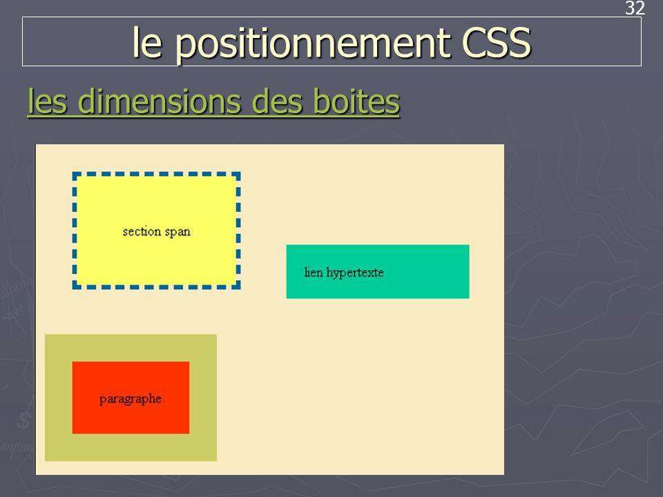 32 le positionnement CSS les dimensions des boites les dimensions des boites
