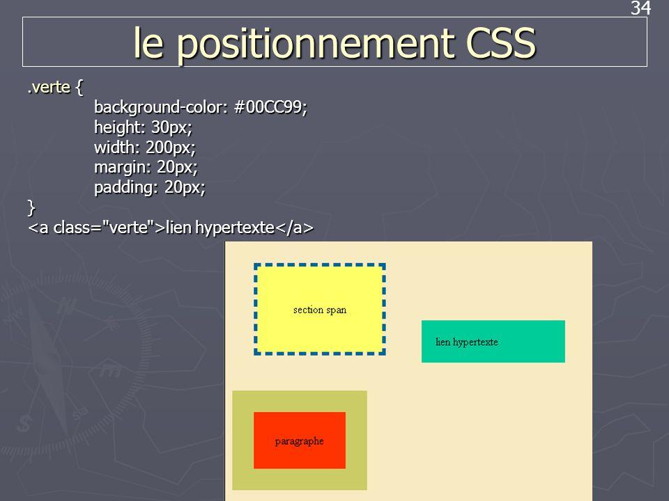 34 le positionnement CSS.verte { background-color: #00CC99; height: 30px; width: 200px; margin: 20px; padding: 20px; } lien hypertexte lien hypertexte