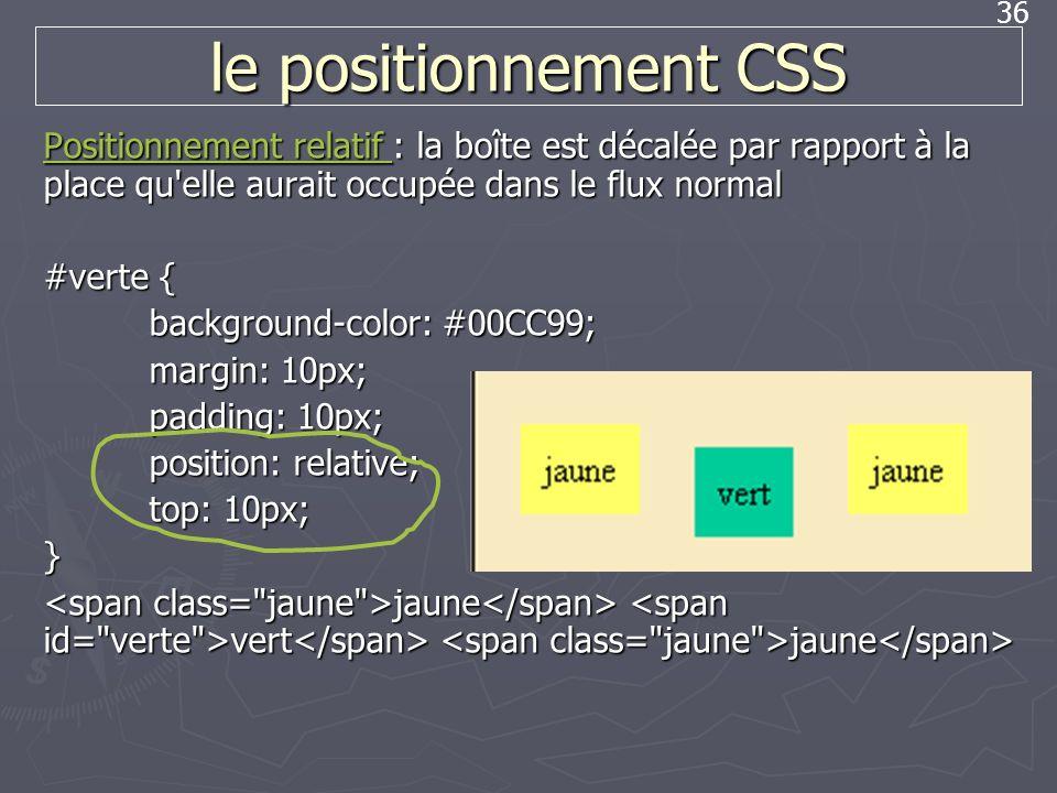 36 le positionnement CSS Positionnement relatif Positionnement relatif : la boîte est décalée par rapport à la place qu'elle aurait occupée dans le fl